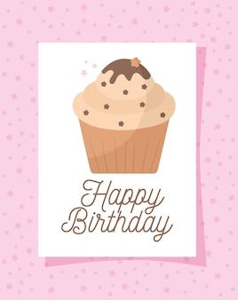 Cupcakekaart met gelukkige verjaardag belettering over een roze afbeelding ontwerp