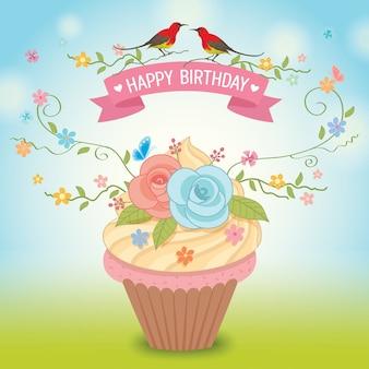 Cupcakes-bloem voor verjaardagskaart