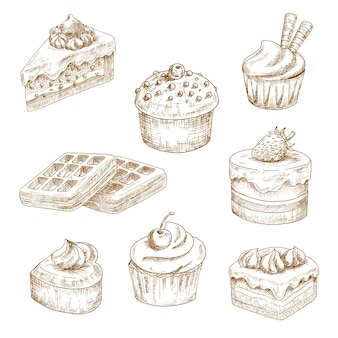 Cupcakes en muffin, chocoladetaarten en fruitig dessert, hartvormige cake en belgische wafels, gegarneerd met slagroom, custardglazuur, hagelslag, wafelbuizen en chocoladedruppels. schetsen