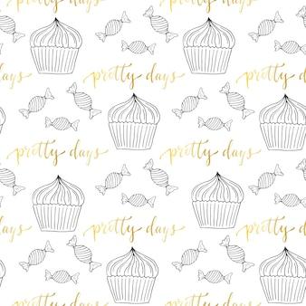 Cupcakes en snoep naadloze patroon. snoepjesachtergrond voor menudecoratie of verpakkend document