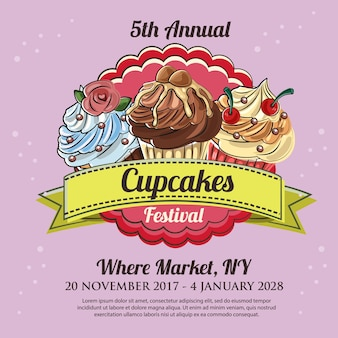 Cupcakes festival poster sjabloon