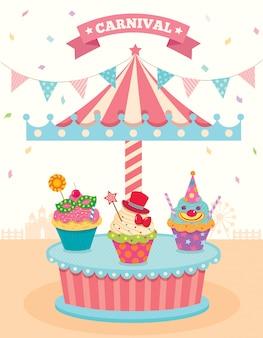 Cupcakes gaan vrolijk rond
