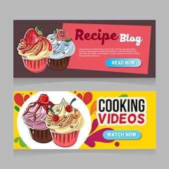 Cupcakes hand getrokken menusjabloon