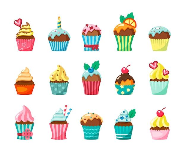 Cupcakes met glazuur in kartonnen dozen platte set. muffins met slagroom en fruit. zoetwaren. zoete kleine cakes. gebak.