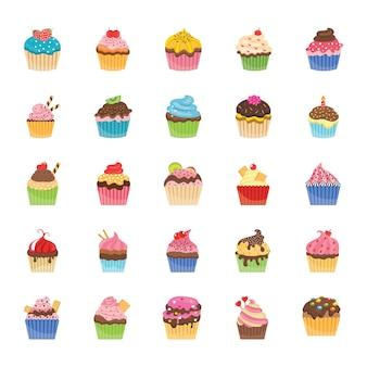 Cupcakes plat pictogrammen