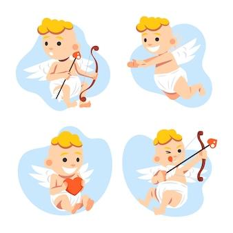 Cupid-karakterpakket met plat ontwerp