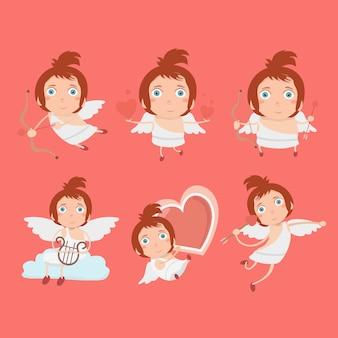 Cupido engelen pictogrammen instellen kleine jongen met een boog en pijlen.