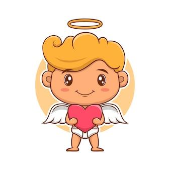 Cupido-engelen van valentijnsdag geeft liefde