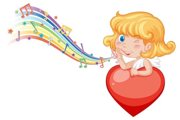 Cupido-engelkarakter met melodiesymbolen op regenboog