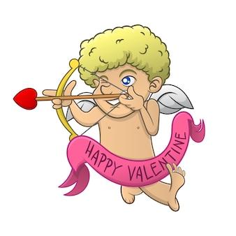 Cupido gericht op het doel met behulp van een boog van liefde cartoon
