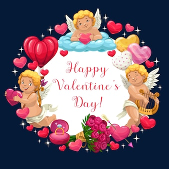 Cupido, hartjes, bloemen en ring. valentijnsdag