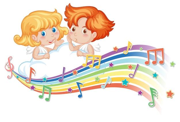 Cupido jongen en meisje stripfiguur met melodie symbolen op regenboog
