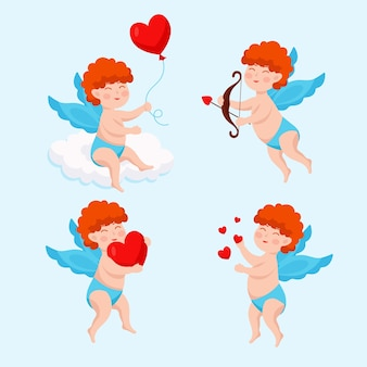 Cupido-karaktercollectie met plat ontwerp