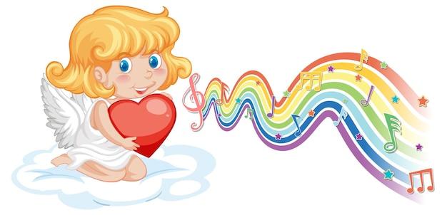 Cupido meisje met hart met melodiesymbolen op regenbooggolf