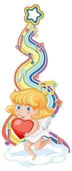 Cupido-meisje met melodiesymbolen op regenbooggolf