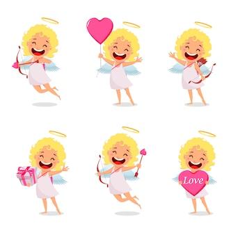 Cupido meisje, schattig stripfiguur