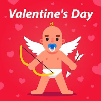 Cupido met pijl en boog kijkt