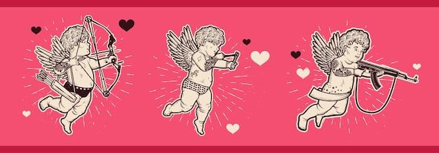 Cupido met pijl en boog, met katapult, met aanvalsgeweer. valentijnsdag.
