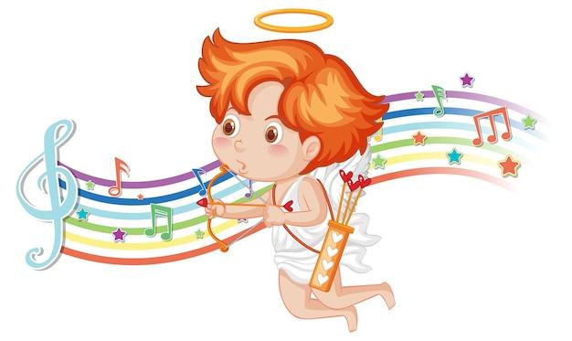 Cupido met pijl en boog met melodiesymbolen op regenboog