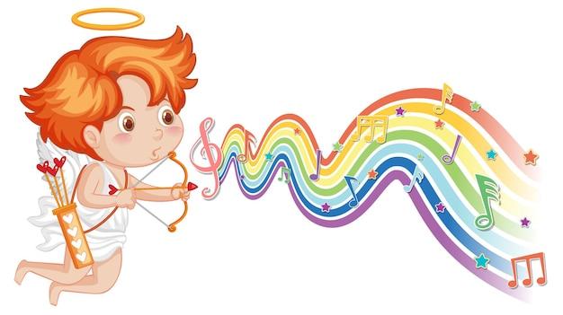 Cupido met pijl en boog met melodiesymbolen op regenbooggolf