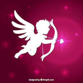 Cupido silhouet met glanzende roze achtergrond