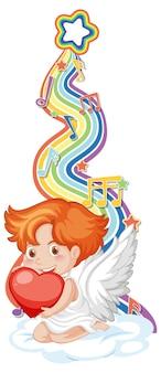 Cupidojongen met melodiesymbolen op regenbooggolf