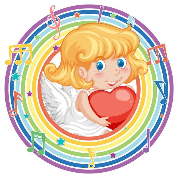 Cupidomeisje in regenboog rond frame met melodiesymbool