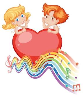 Cupidopaar op groot hart met melodiesymbolen op regenbooggolf