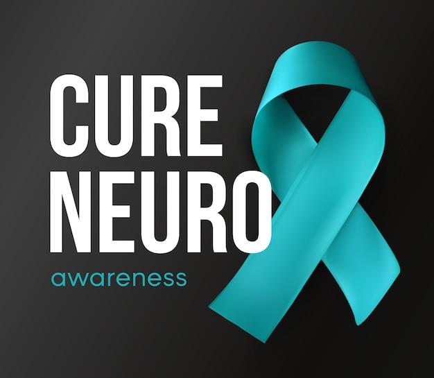 Cure neuro symbool bewustzijn abstract turquoise lint op zwarte achtergrond met tekst vector