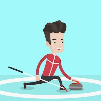 Curling speler curling spelen op curlingbaan.