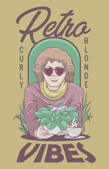 Curly blonde woman character met retro vibes