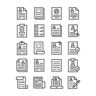Curriculum vitae line icons pack