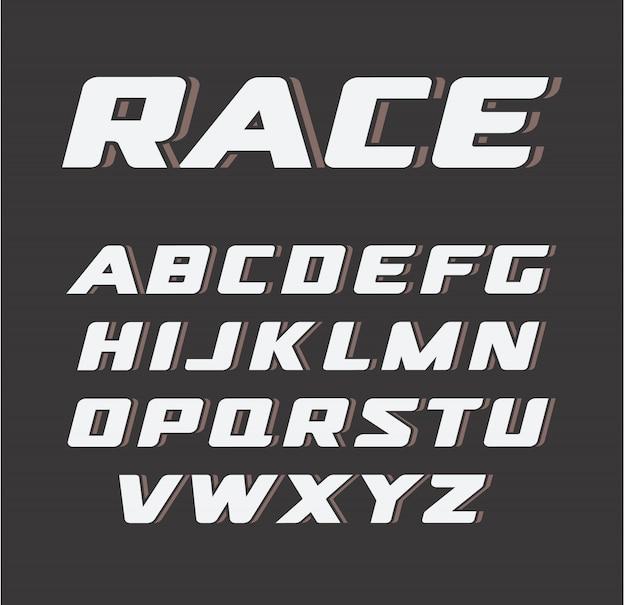 Cursief vet lettertype, race letters ingesteld,