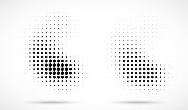 Curve gestippelde vlekken met behulp van halftoon cirkel punt raster textuur. vector
