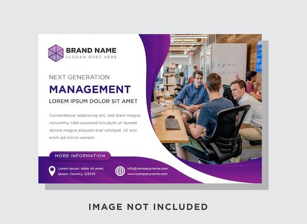 Curve purple banner template, horizontale flyer voor reclamevertoning.