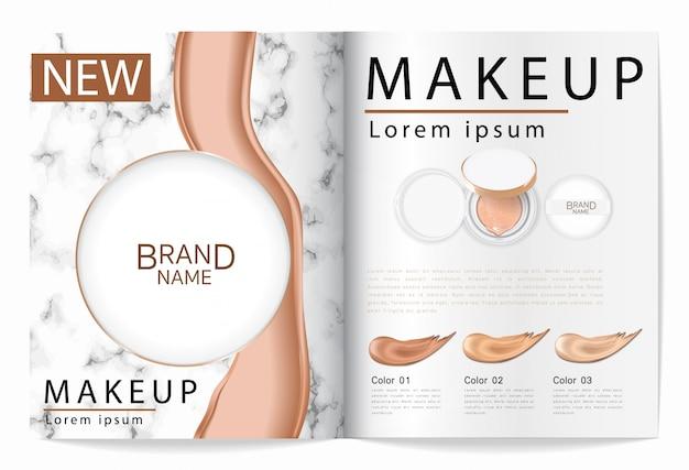 Cushion foundation makeup, een aantrekkelijk make-upproduct met gestructureerde marmeren achtergrond.