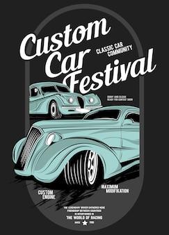 Custom autofestival, super klassieke auto illustratie