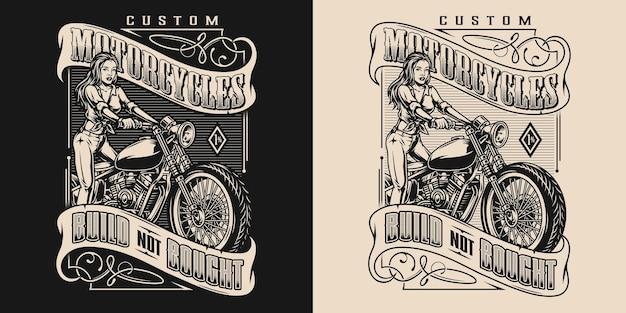 Custom motorfiets elegant vintage embleem met inscripties aantrekkelijk motormeisje en motor op donkere en lichte achtergronden