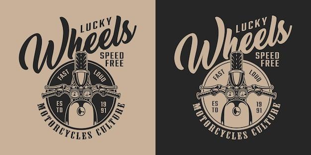 Custom motorfiets vintage label met chopper in zwart-wit stijl