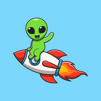 Cute alien sit on rocket and wave