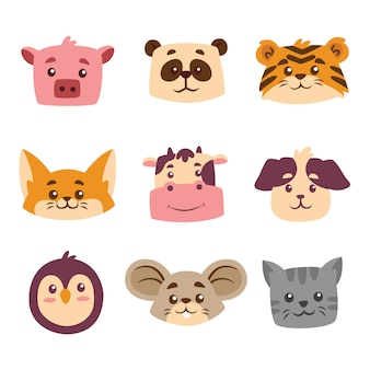 Cute animal cartoon head collection set