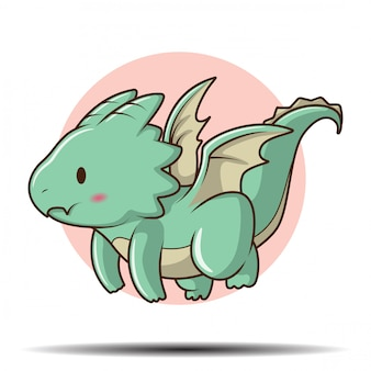 Cute baby dragon stripfiguur., sprookje cartoon concept.