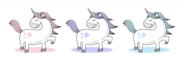 Cute baby unicorn doodle sketch blue girly