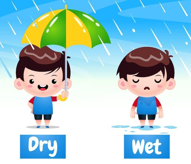 Cute boy cartoon voorbeeld van tegenovergestelde woord droog en nat