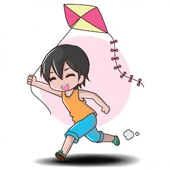 Cute boy play vlieger vliegen in de zomer.