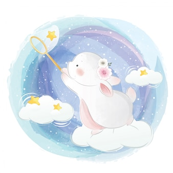 Cute bunny catching stars
