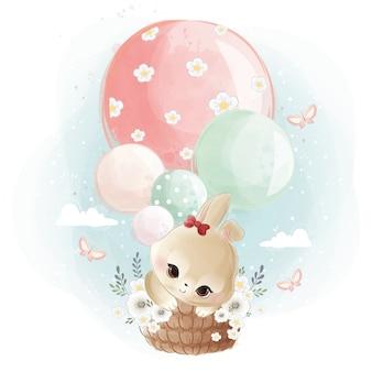 Cute bunny flying met ballonnen
