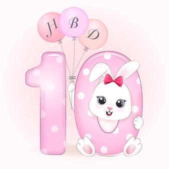 Cute bunny verjaardagsfeestje met nummer