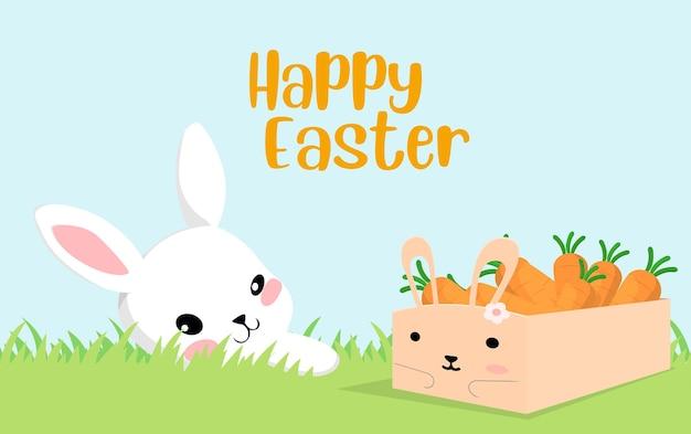 Cute bunny viert pasen met wortelen