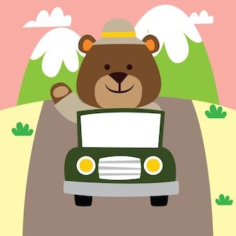 Cute cartoon avontuur beer besturen van een auto